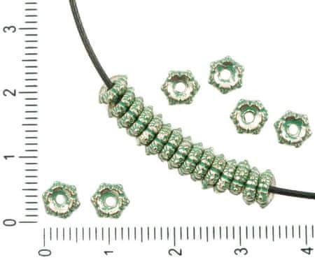 Kraftika 60db antik ezüst hang türkiz zöld patina mosás kis távtartó