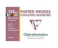 Clairefontaine Sada papírů ingres různé barvy (130g/m2,12ks) 24x32cm