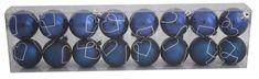 DUE ESSE 16 db-os kék karácsonyi gömb készlet, Ø 6 cm, matt/fényes, 2 fehér rajzolat