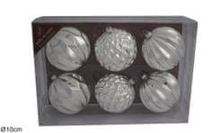 DUE ESSE Set 6 ks vánočních stříbrných skleněných koulí Ø 10 cm - zánovní