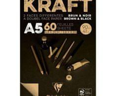 Clairefontaine Skicák kraft hnědo černý (90g/m2, 60 listů) a5