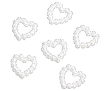 Kraftika Szívek műanyag gyöngyökből-fehér (25db),