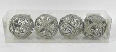 DUE ESSE komplet božičnih srebrnih okraskov Ø 7 cm, oblika 3, 4 kosi