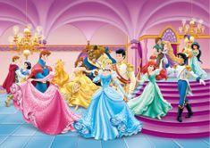 AG design Fototapeta Tańczące księżniczki Disneya 255 x 180 cm 2 sztuki