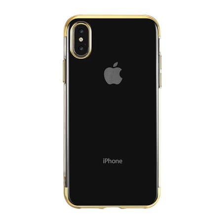 Elegance ovitek za Apple iPhone 11, silikonski, ultra tanek, prozoren z zlatim robom