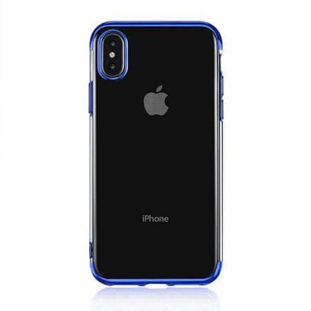 Elegance ovitek za Apple iPhone SE 2020/8/7, silikonski, tanek, prozoren z modrim robom