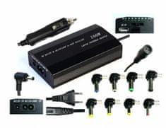 Eurocase Napájecí adaptér univerzální 100W, vstup AC 110-240V / CAR DC 12V, výstup DC 12-24V, manual
