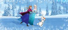 AG design fototapeta Elsa, Anna i Olaf na klizaljkama, 202 x 90 cm