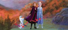 AG design fototapeta Elsa, Anna i Olaf na planinskoj cesti, 202 x 90 cm