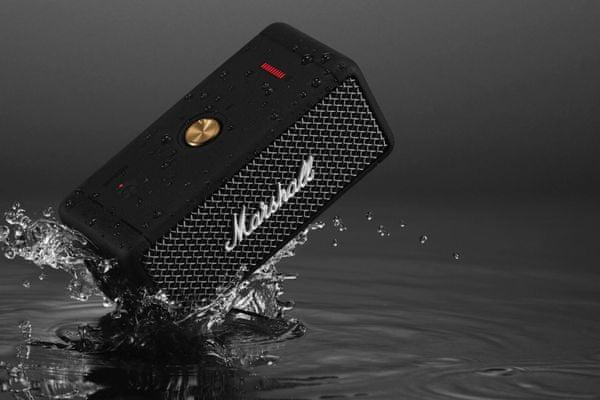přenosný stylový retro repráček marshall emberton bt Bluetooth výkon 20 w stereo zvuk zesilovače třídy d uzavřený pasivní zářič nabíjení usb-c výdrž přes 20 h na nabití dosah signálu 10 m vestavěné multifunkční tlačítko nízká hmotnost malé rozměry rychlonabíjení za 20 minut 5 h provozu odolnost vůči vodě ipx7 super zvuk 360 stupňů