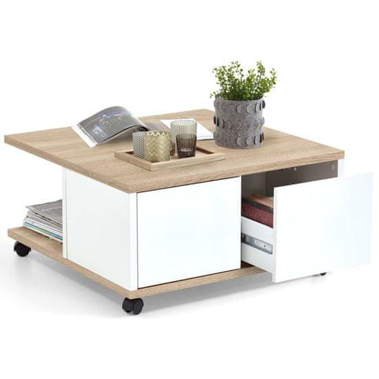 FMD Prenosný konferenčný stolík 70x70x36 cm dubová a lesklá biela