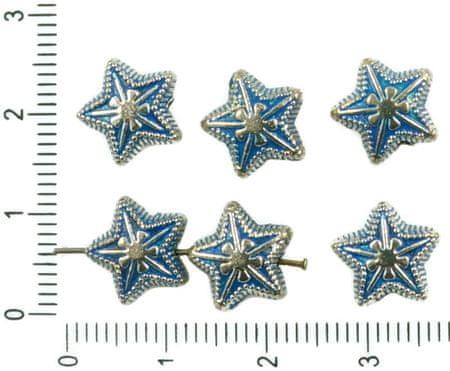 Kraftika 8db antik ezüst hang kék patina mosás csillag karácsonyi
