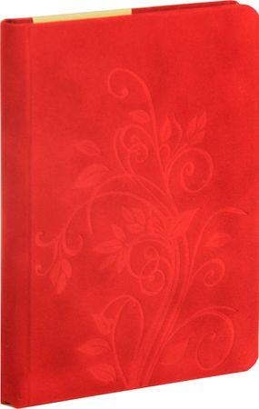 nb grafo Notes A6 črte trde platnice, 96 listov, 0363.03, Floral rdeč