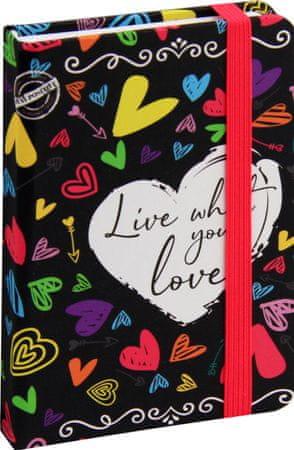 nb grafo Notes A6 črte trde platnice, 96 listov, z elastiko, 0558.02, Positive Srce