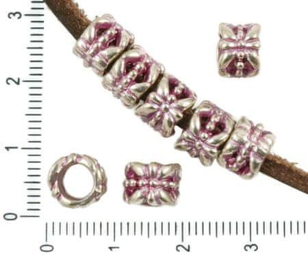Kraftika 12pcs antyczny srebrny odcień różowy patyna myć duże otwory