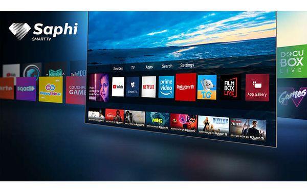 OS SAPHI, Smart TV, YouTube, Netflix, Prime Video, intuitivno sučelje, jasno, brzo