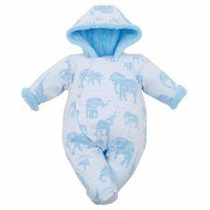 Carero Zimní kojenecká kombinéza s kapucí Baby Service Sloni modrá