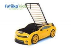 Futuka Kids Postýlka auto EVO CAMARO, Zvedací mechanismus, LED světla, Spodní světlo, Měkké čelo