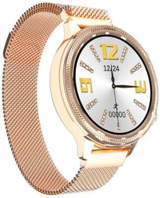 Dámske inteligentné hodinky Carneo Gear+ Deluxe, sledovanie tepu, kalórií, vzdialeností, krokov, spánku, zóny srdcovej činnosti, menštruačný kalendár, tep, krvný tlak