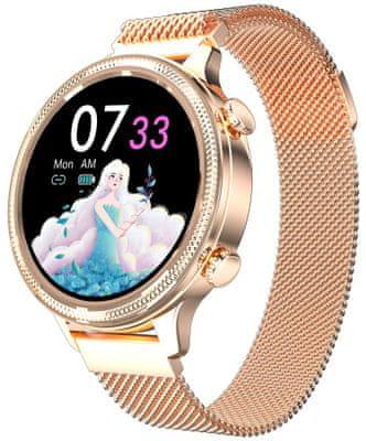 Dámske inteligentné hodinky Carneo Gear+ Deluxe, kovový remienok, luxusné prémiový dizajn, nízka hmotnosť, personalizácia displeja, nastaviteľný ciferník, magnetické zapínanie