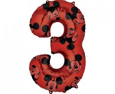 "GoDan Fóliový balón číslo 3 -""Mickey Mouse"" - 66 cm"