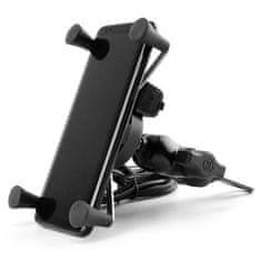 Hliníkový držák telefonu s USB nabíječkou - pro velké úhlopříčky