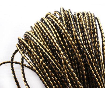 Kraftika 2yrd 1,8 m czarny złoto pu faux skórzany sznurek pleciony
