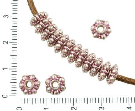 Kraftika 24db antik ezüst tónusú rózsaszín patina mosás nagy lyuk