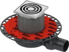 Tece TECEdrainpoint S- podlahová vpusť znížená s univerzálnou prírubou a nerezovou mriežkou, 3601100