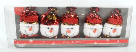 DUE ESSE zestaw 5 dekoracji wiszących z cekinami bałwanki