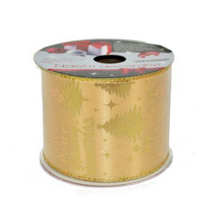 DUE ESSE Zestaw 3 ozdobnych tasiemek w kolorze złotym ze złotym motywem, 6,3 x 270 cm
