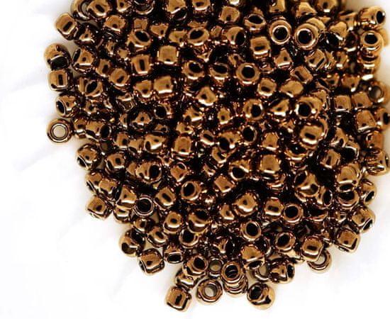 Kraftika Drobné kulaté skleněné korálky, japonské, kovově bronzové