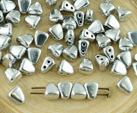 Kraftika Új alakú 60db ezüst fémes nib-bit matubo cseh üveg 2 két