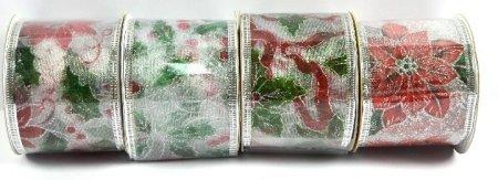 DUE ESSE Zestaw 4 ozdobnych srebrnych tasiemek 6,3 x 270 cm, mix dekorów