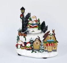 DUE ESSE Zimní vesnička se Santou a sněhulákama 17 cm, hraje, točí se a svítí