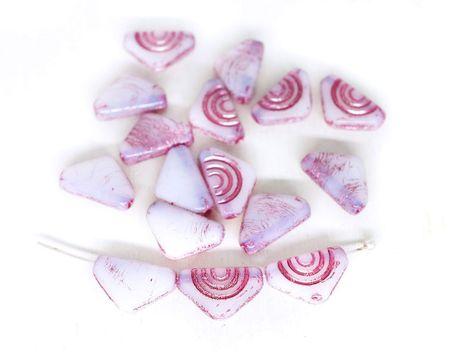 Kraftika 20 szt opal biały różowy umyć trójkąt czeskie szkło płaskie