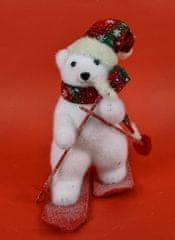 DUE ESSE Vánoční dekorace, lední medvěd na lyžích 26 cm