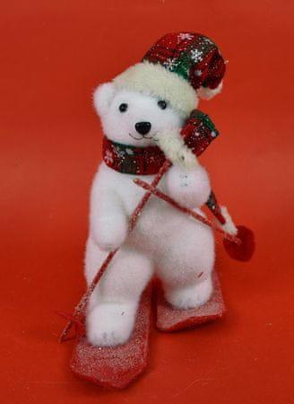 DUE ESSE Karácsonyi dekoráció, jegesmedve sílécen 26 cm