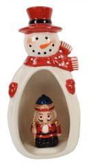 DUE ESSE Porcelánový sněhulák se svítícím louskáčkem v bříšku 23 cm, typ 2