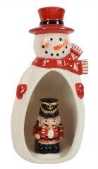 DUE ESSE Porcelánový sněhulák se svítícím louskáčkem v bříšku 23 cm, typ 3