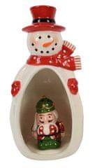 DUE ESSE Porcelánový sněhulák se svítícím louskáčkem v bříšku 23 cm, typ 4