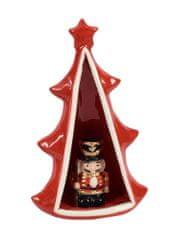DUE ESSE Keramický svítící stromeček s figurkou, 23 cm