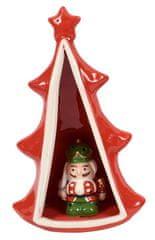 DUE ESSE Keramický svítící stromeček s figurkou, 23 cm, č. 2