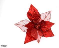 DUE ESSE božična zvezda, rdeča, s sponko, 19 cm