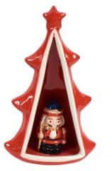 DUE ESSE Keramický svítící stromeček s figurkou, 23 cm, č. 3
