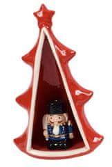 DUE ESSE Keramický svítící stromeček s figurkou, 23 cm, č. 4