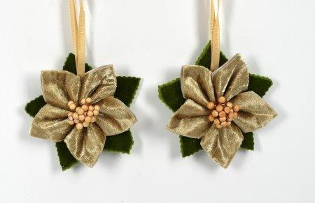 DUE ESSE Set 2 božičnih tekstilnih zvezd za obešanje, 10 cm