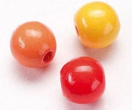 Kraftika Fa gyöngyök 4mm (165db) mix sárga piros