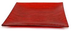 DUE ESSE Dekorativní skleněný červený podnos, 20 × 20 cm