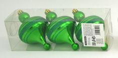 DUE ESSE komplet božičnih okraskov, zelena bunka z bleščečo črto, 13 cm, 3 kosi